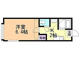 ロイヤルガーデン東札幌 1階1Kの間取り