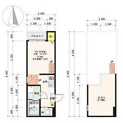 名古屋市営東山線 中村公園駅 徒歩9分の賃貸アパート 2階1SKの間取り
