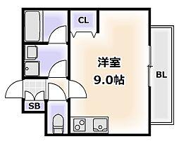 Osaka Metro堺筋線 恵美須町駅 徒歩1分の賃貸マンション 8階ワンルームの間取り
