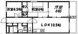 大阪府大阪市住吉区遠里小野2丁目の賃貸マンションの間取り
