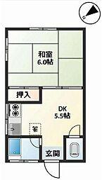 西五反田コーポ[2階]の間取り