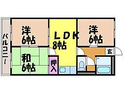 愛媛県松山市御幸1丁目の賃貸マンションの間取り