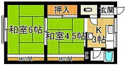 奈良県奈良市北室町の賃貸アパートの間取り