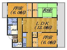 大阪府堺市北区北長尾町2丁の賃貸マンションの間取り