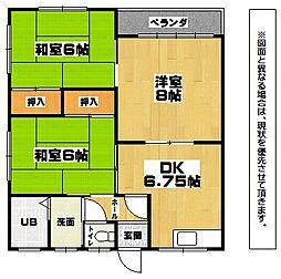福岡県北九州市小倉南区中貫2丁目の賃貸アパートの間取り