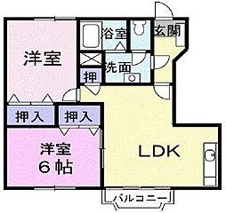 東京都狛江市西野川2丁目の賃貸アパートの間取り