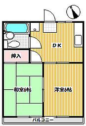 ハピネス柴崎 東 2階2DKの間取り