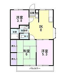 静岡県田方郡函南町上沢の賃貸アパートの間取り