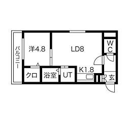 ルーチェ澄川 3階1LDKの間取り
