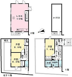 [タウンハウス] 東京都多摩市関戸2丁目 の賃貸【/】の間取り