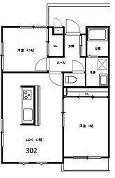 ケンジントンハウス[KH6(302)号室]の間取り