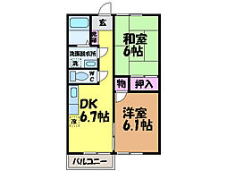 愛媛県東温市野田1丁目の賃貸アパートの間取り