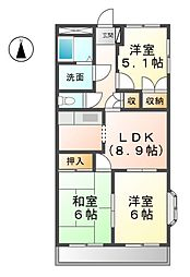 愛知県あま市新居屋新町の賃貸マンションの間取り