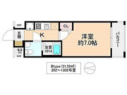 No77HANATEN002 12階1Kの間取り