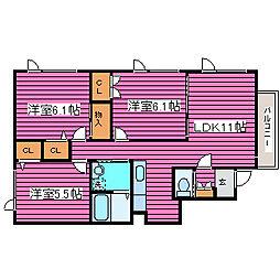 パールヒルズマンション[401号室]の間取り