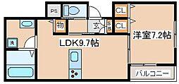 阪急神戸本線 六甲駅 徒歩7分の賃貸アパート 1階1LDKの間取り