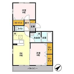 埼玉県越谷市大字三野宮の賃貸アパートの間取り