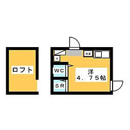フレシール笹塚B 1階ワンルームの間取り