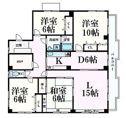阪急神戸本線 王子公園駅 徒歩14分の賃貸マンション 3階4LDKの間取り