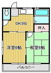 神奈川県川崎市中原区中丸子の賃貸アパートの間取り