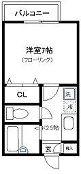 東京都品川区小山1丁目の賃貸アパートの間取り