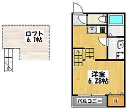 大阪府大阪市城東区諏訪3丁目の賃貸アパートの間取り