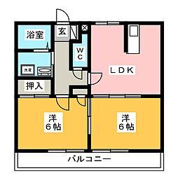 ラ・レージュB棟[1階]の間取り