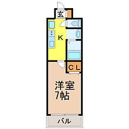 愛知県名古屋市昭和区御器所通1丁目の賃貸マンションの間取り