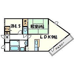 兵庫県西宮市野間町の賃貸マンションの間取り