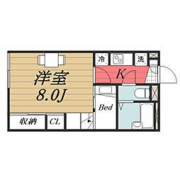 千葉県成田市飯仲の賃貸アパートの間取り