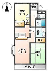 愛知県あま市森3丁目の賃貸マンションの間取り