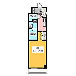 バウスステージ高田馬場 2階1Kの間取り