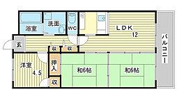 CALMO姫路東[208号室]の間取り