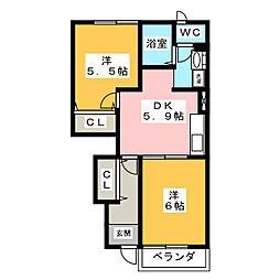 ブライトハオスW・M[1階]の間取り