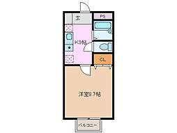 三重県四日市市富士町の賃貸アパートの間取り