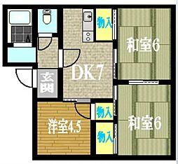 神奈川県小田原市中曽根の賃貸アパートの間取り