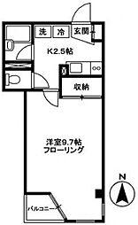 西武新宿線 武蔵関駅 徒歩12分の賃貸マンション 3階1Kの間取り