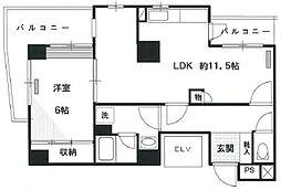 東京都中野区東中野5丁目の賃貸マンションの間取り