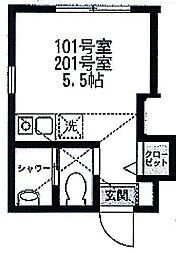 スミカ横浜根岸[201号室]の間取り