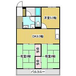 愛知県名古屋市中川区西中島1丁目の賃貸アパートの間取り
