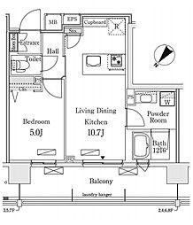 新交通ゆりかもめ 新豊洲駅 徒歩22分の賃貸マンション 5階1LDKの間取り