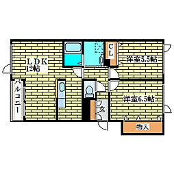エール花繁イン平岡A棟[1階]の間取り
