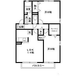 兵庫県姫路市飾磨区今在家北1丁目の賃貸アパートの間取り