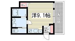 ヒマワリマンション 3階1Kの間取り
