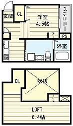 大阪府大阪市生野区中川東2丁目の賃貸アパートの間取り