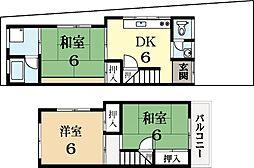[テラスハウス] 京都府城陽市富野乾垣内 の賃貸【/】の間取り