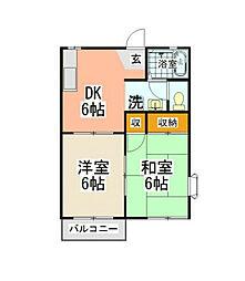 神奈川県横浜市磯子区杉田8丁目の賃貸アパートの間取り