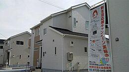 2号棟、現地写真です。毎週土曜日・日曜日・祝日はオープンハウス開催中です。お気軽にお越しください。