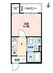 N&A home 上飯田(エヌアンドエーホームカミイイダ) 3階1Kの間取り
