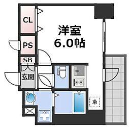 スプランディッド難波元町DUE 4階1Kの間取り
